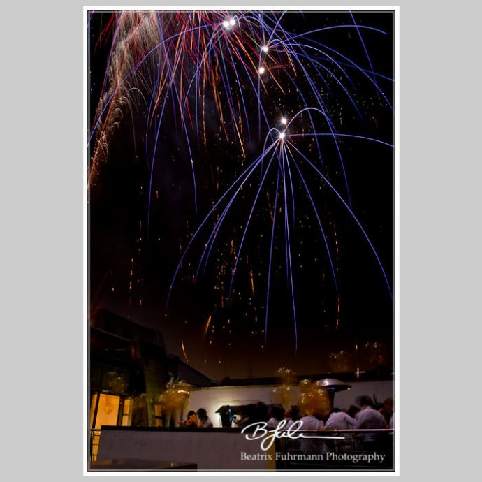 Wedding fireworks above the roof terrace