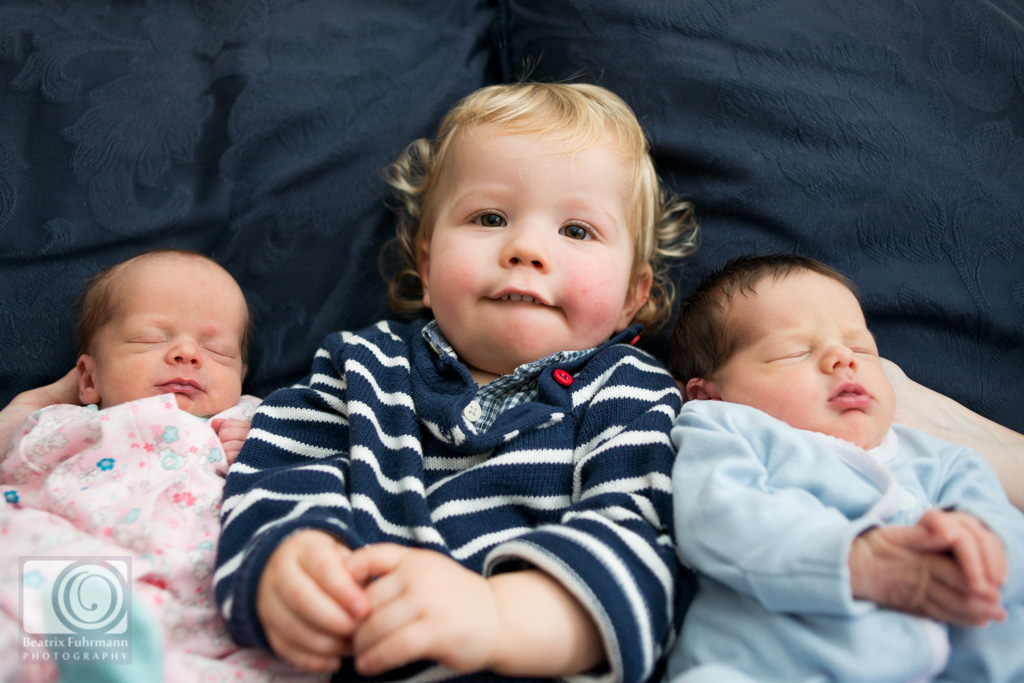 Baby twin girls and big brother