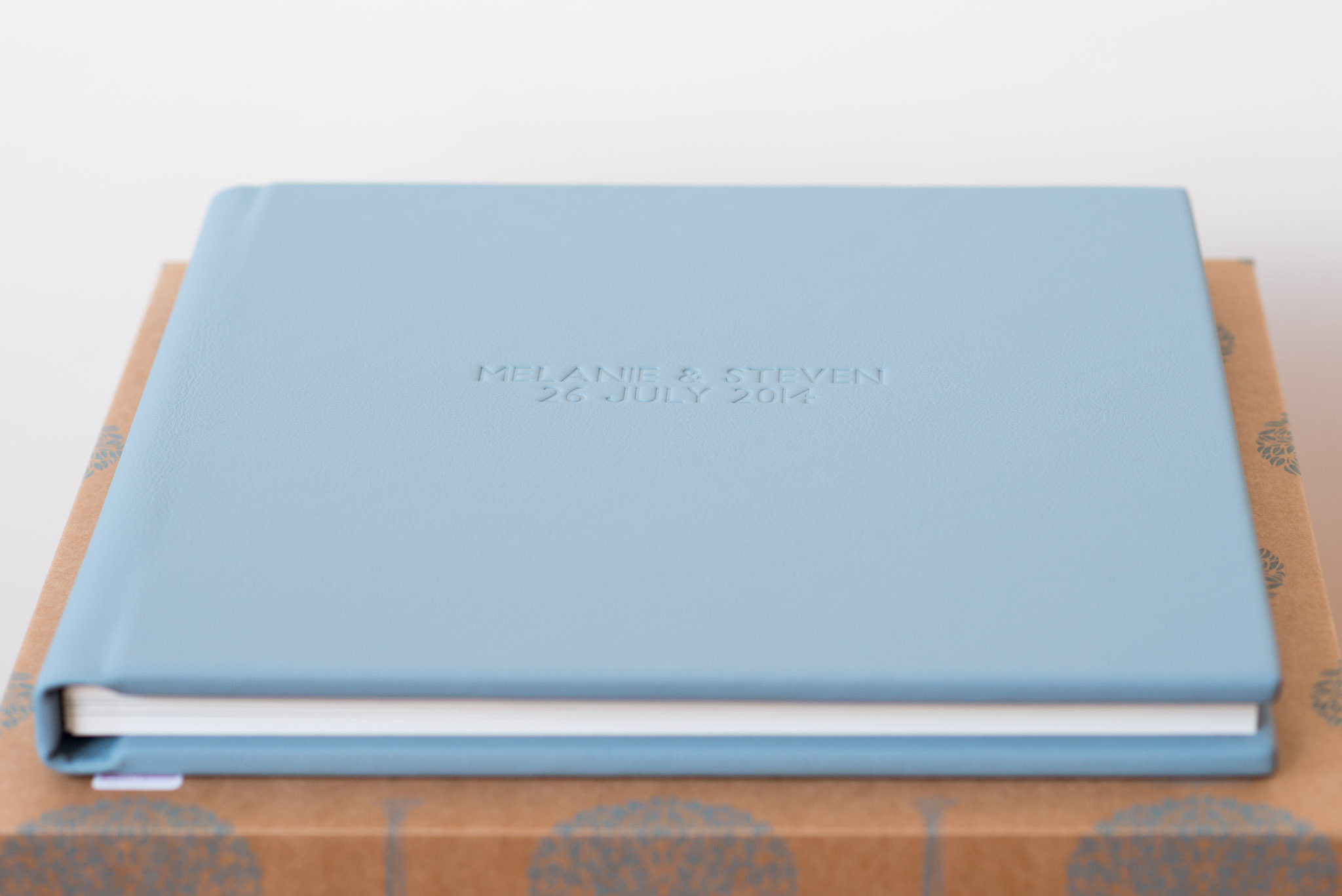 12 x 12'' album in blue with 2 lines of embossing