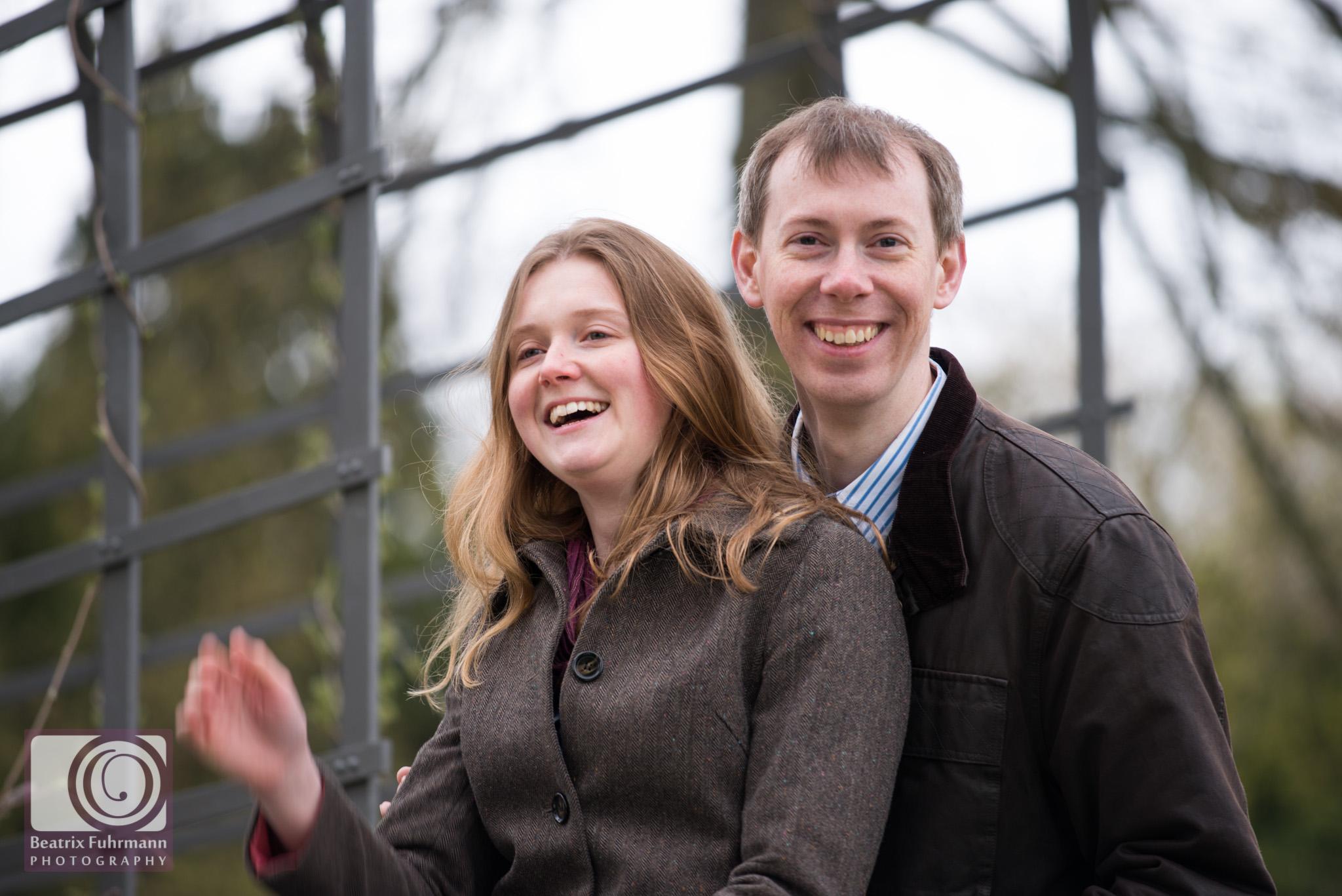 Couple laughing during their pre wedding photo session
