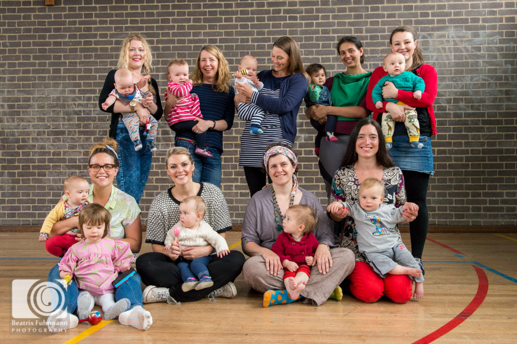Group photo of all the Choir Baby mums with their little ones