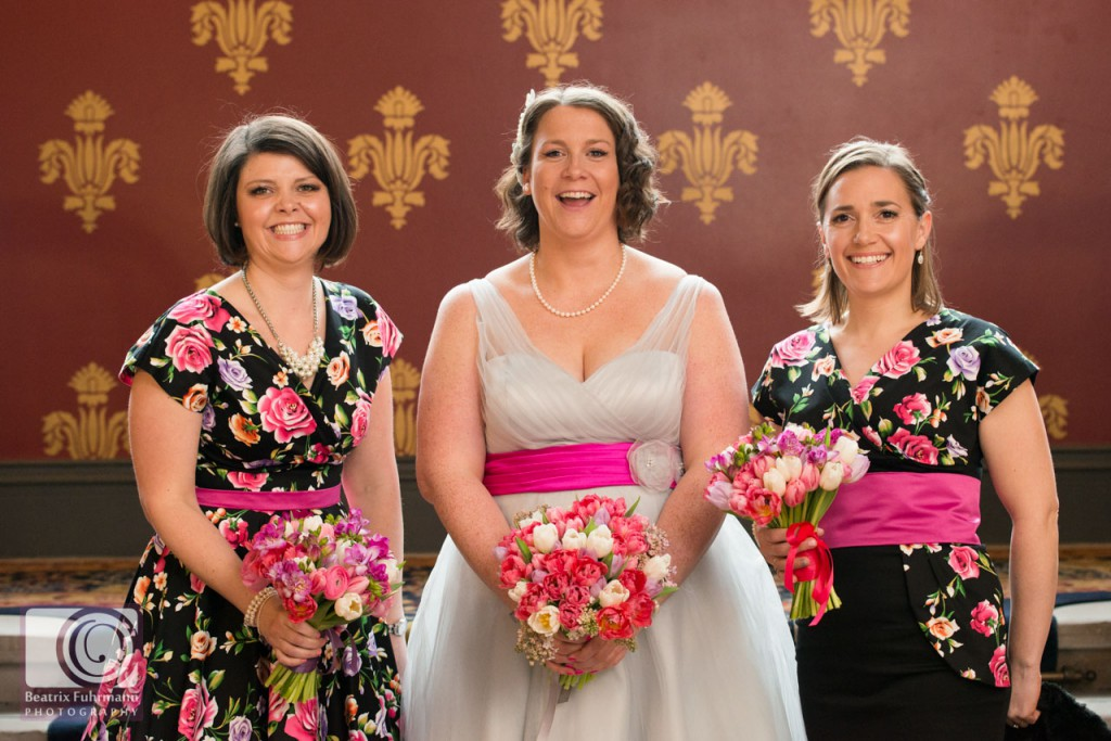 Bride and bridesmaids at the St. Pancras Renaisance Hotel, London