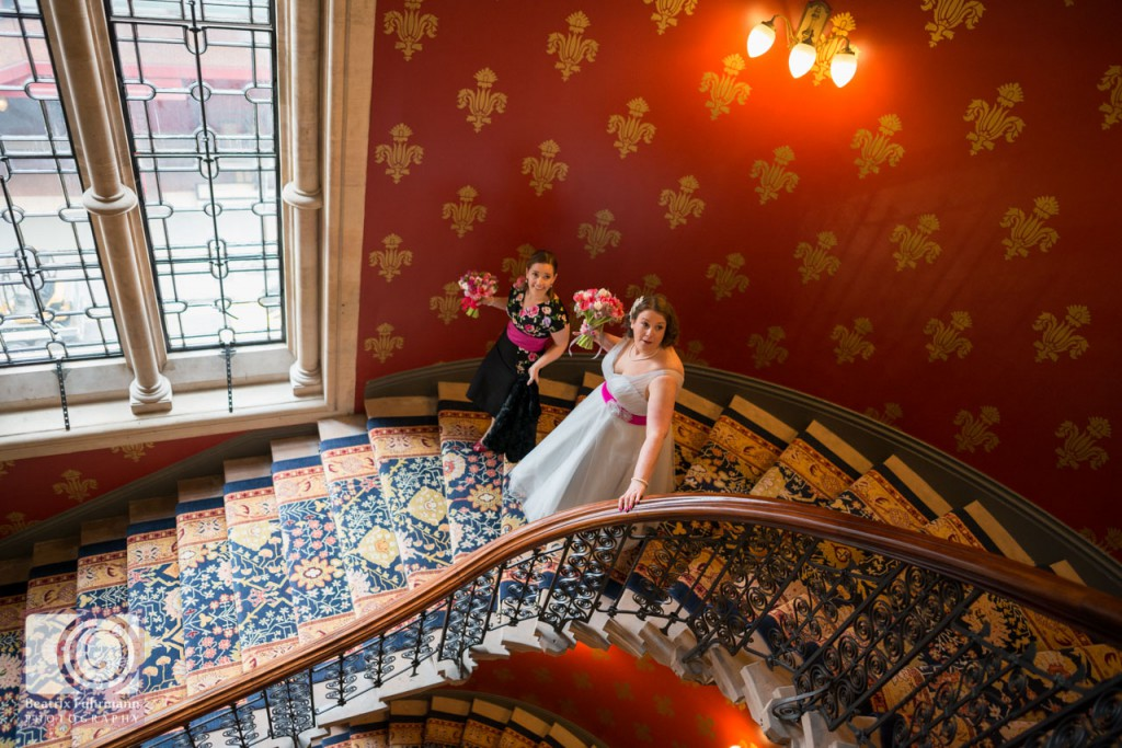 Bride walking down the Grand Staircase