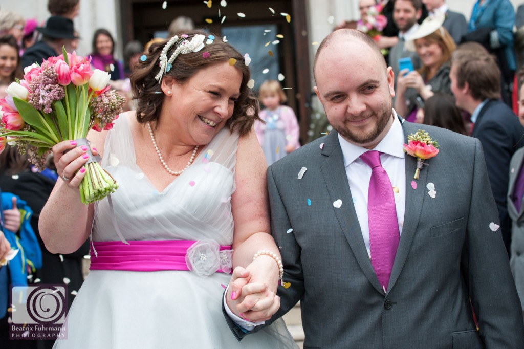 The newlyweds showered by confetti at the Islington Town Hall