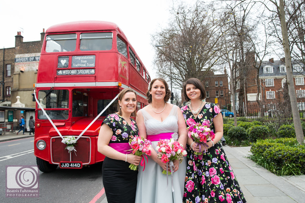 Bride and bridesmaids with Routemaster - fifties style Stoke Newington wedding
