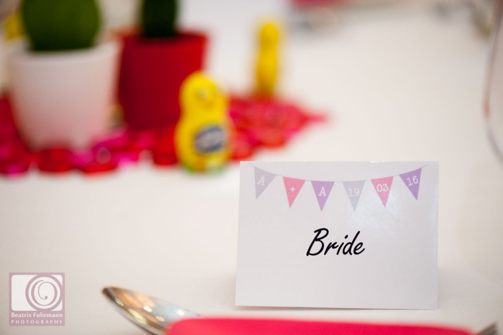 Bride table name close up