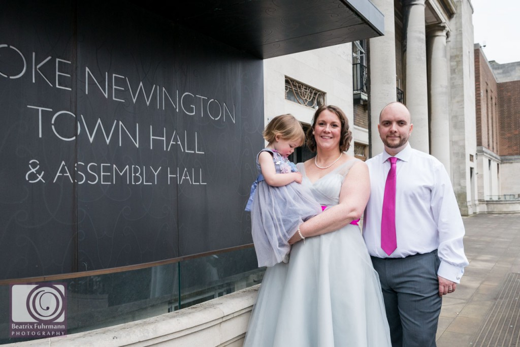 Newlyweds with their daughter at the Stoke Newington Town Hall