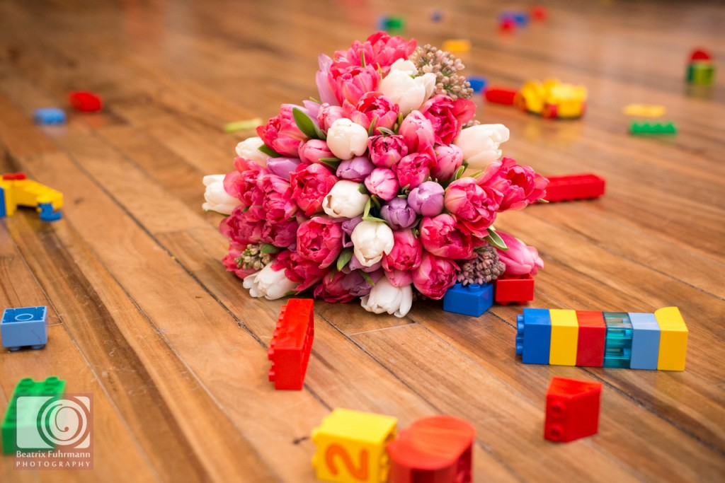 Bridal bouquet and lego duplo bricks
