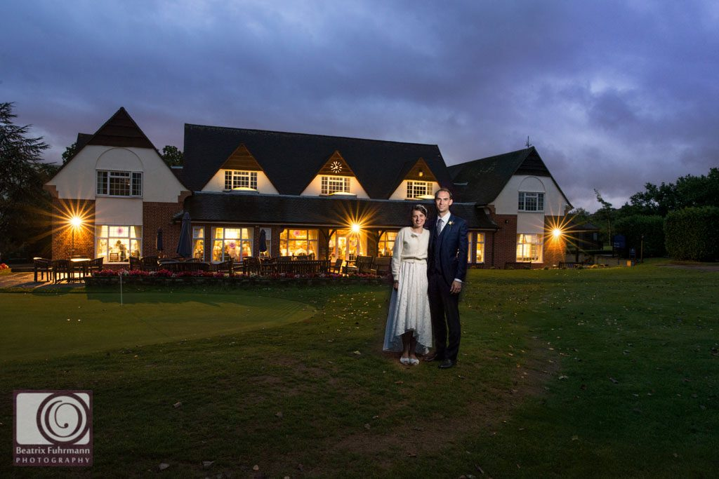 Bride and groom evening portrait at the Muswell Hill Golf Course