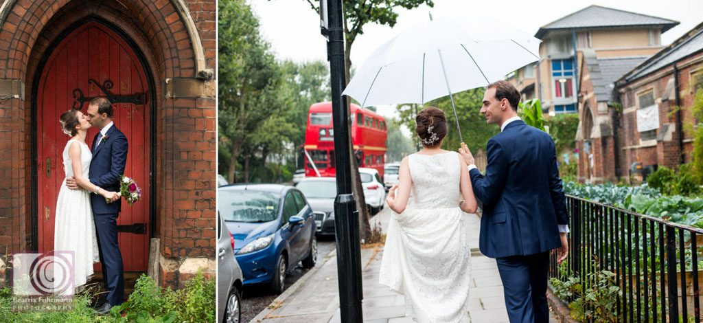 Crouch End wedding portraits in the rain with white umbrella and Routemaster in the background