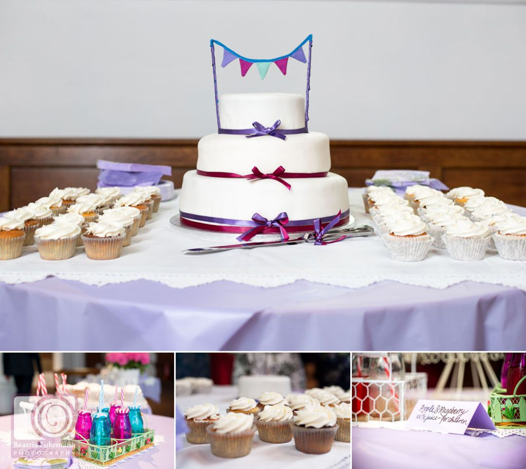 Wedding cake with bunting theme and purple wedding colours as well as cupcakes and drinks for the afternoon tea