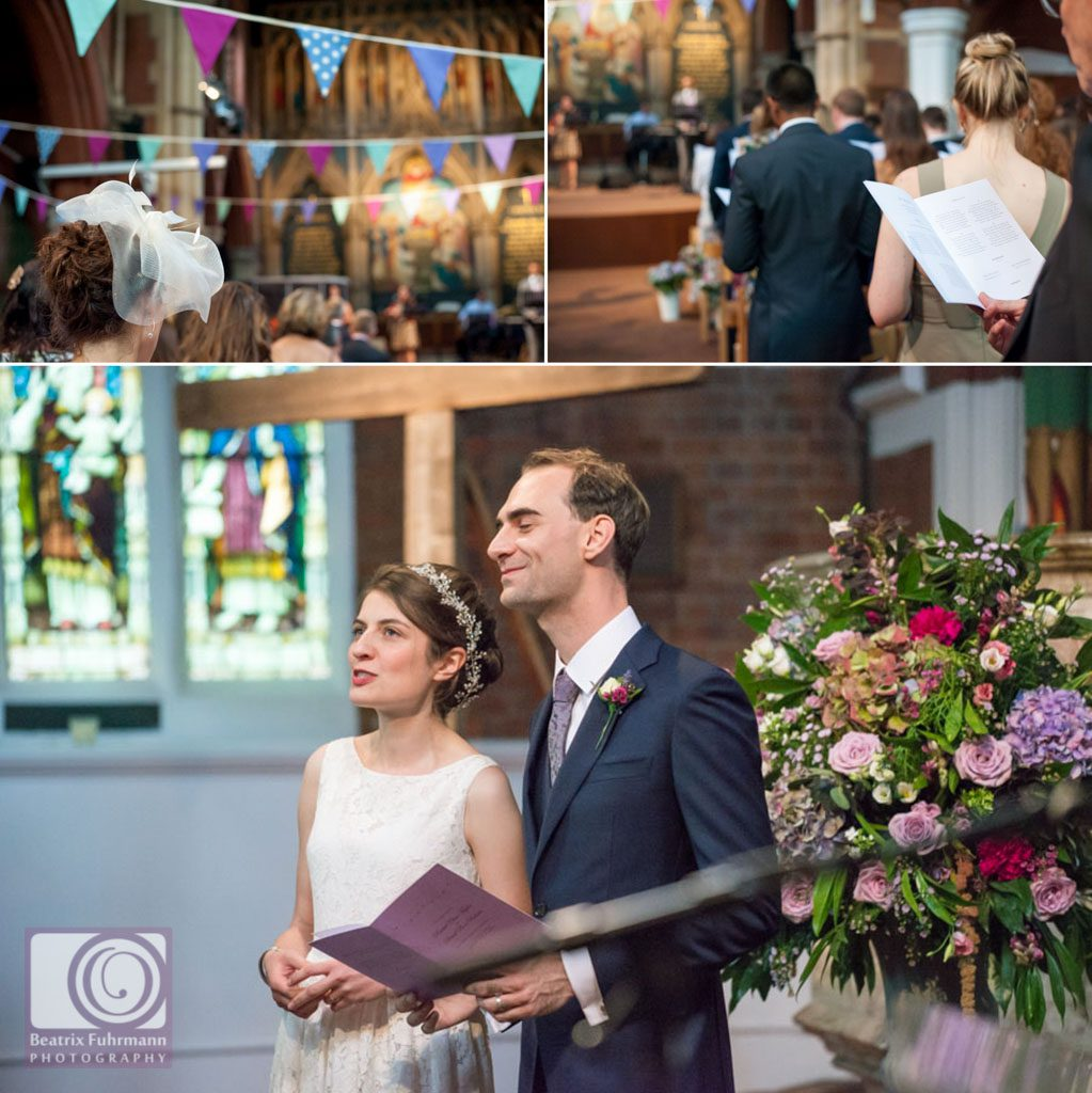 The married couple singing and details at St. Saviour's Church, Crouch End