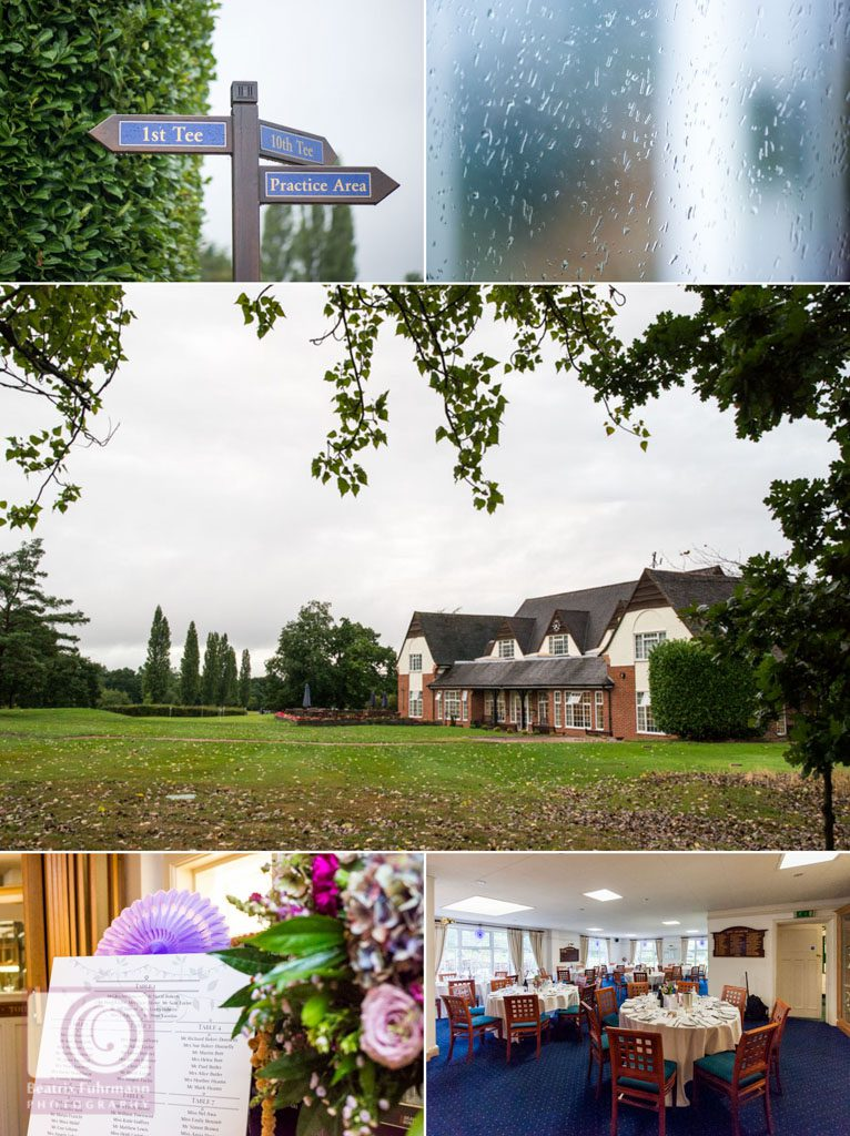 Collage of the wedding venue details at the Muswell Hill Golf course