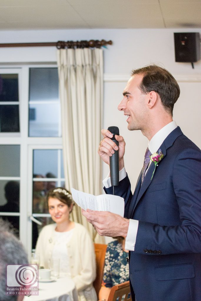 Groom during his wedding speech