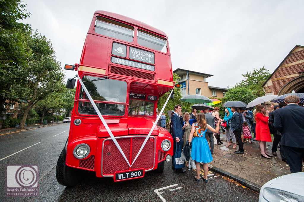 Routemaster bus picking up wedding guests at the church