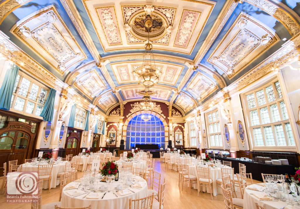 Table layout in the Great Hall - Old finsbury Town Hall wedding photography