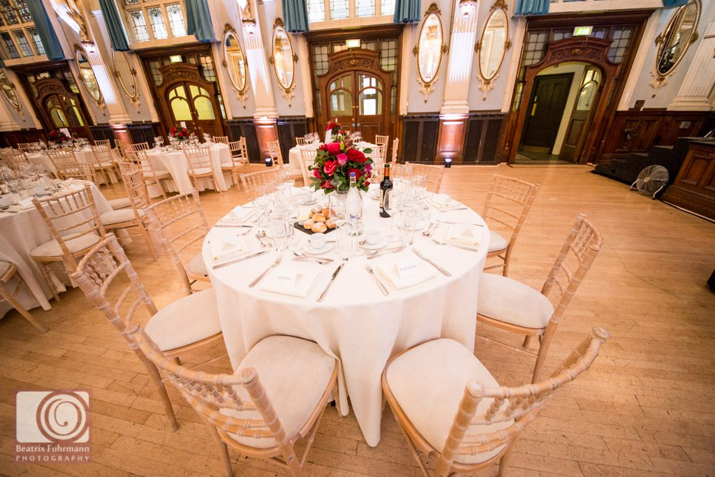 The bridal table at the Old Finsbury Town Hall