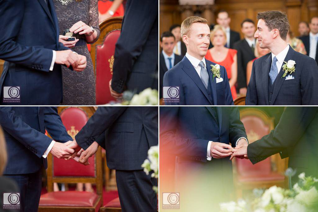 Exchanging wedding rings at the Islington Town Hall - Gay Wedding Photography