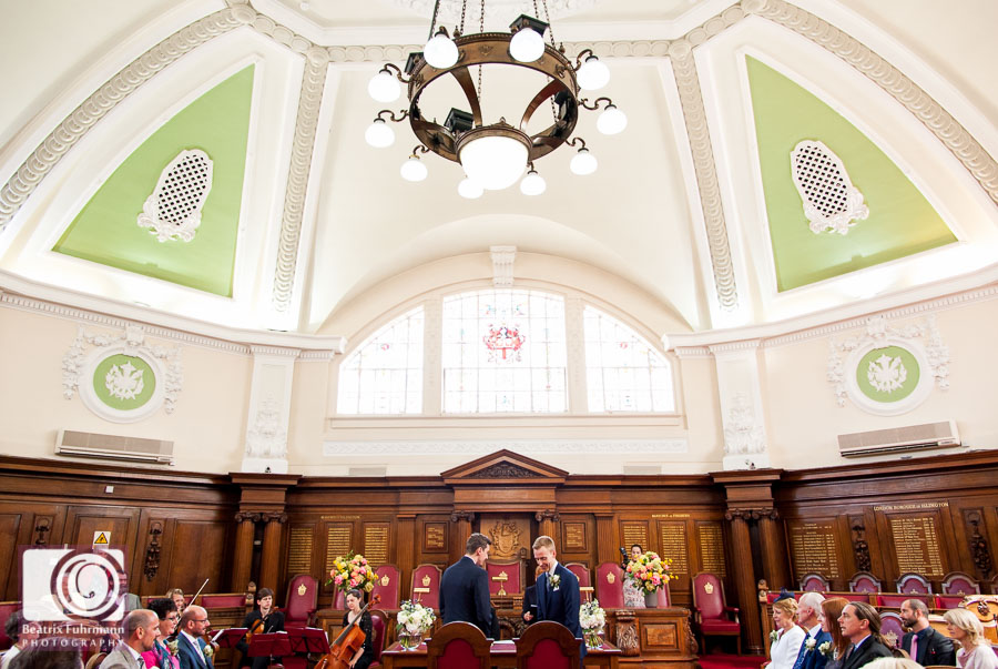 The gorgeous council chamber - Gay London Wedding photography
