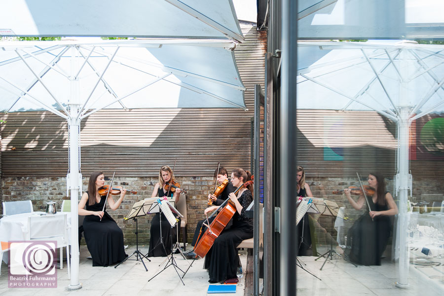 String quartet on Frederick's patio