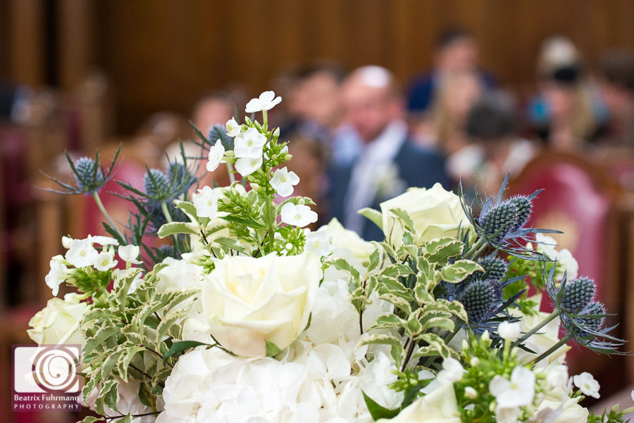 Wedding flowers in the Islington Town Hall's Council chamber