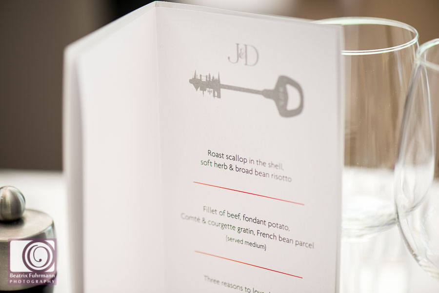 Frederick's wedding menu with hand designed layout - Gay London Wedding