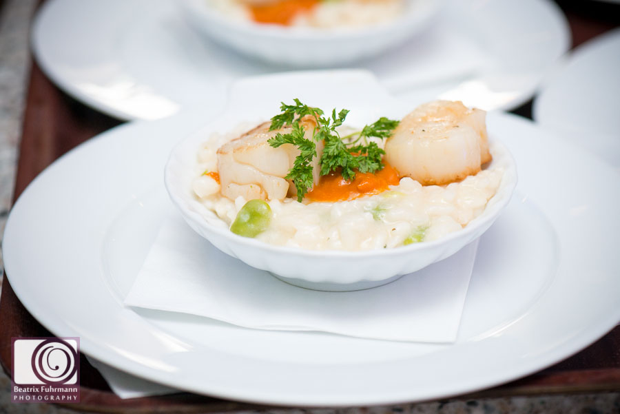 Delicous risotto & scallops served at Frederick's as a starter