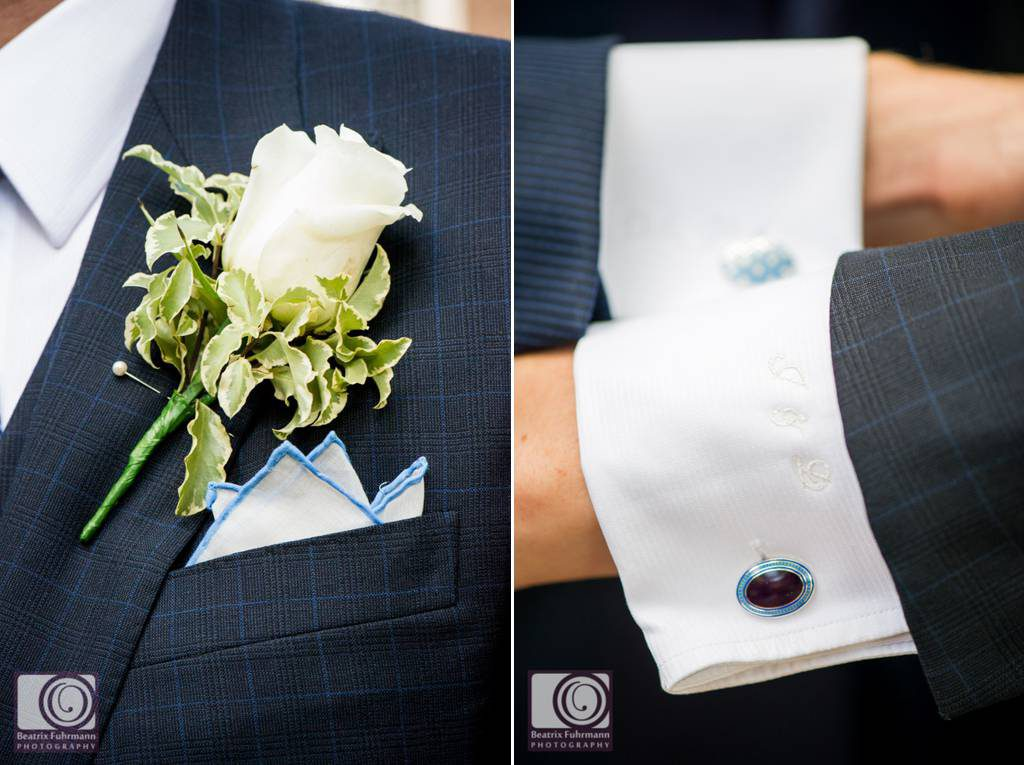 Cuffinlinks with embroidered initials and flower button hole - gay wedding photography