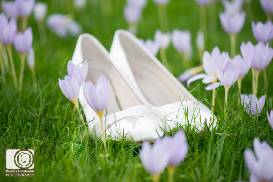 Bridal shoes amongst autumn crocusses