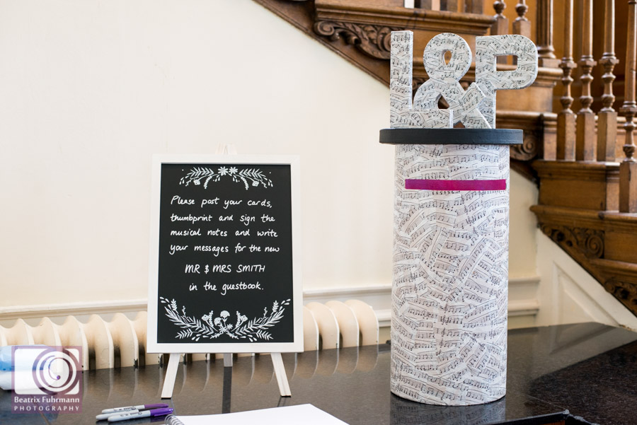 Handmade wedding postbox featuring musical notes