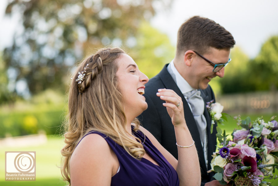Bridesmaid giggling