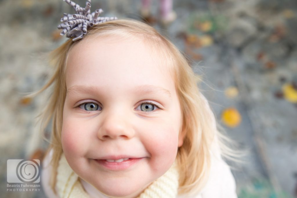 Family photography in Crouch End - close up of a girl's face