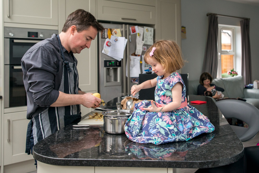 Daddy and daughter cooking
