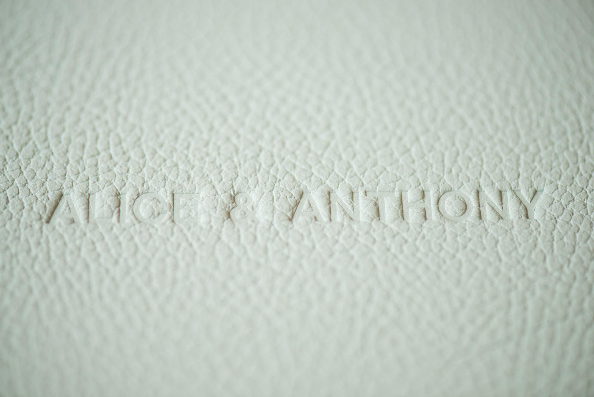 Ebossed names on fine art leather album